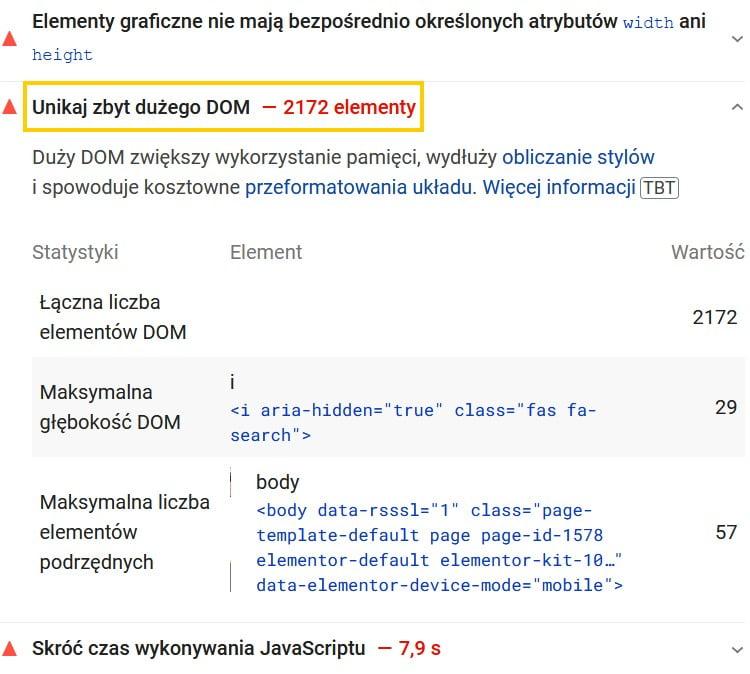 Unikaj zbyt dużego DOM - wskazówka z Google Page Insights