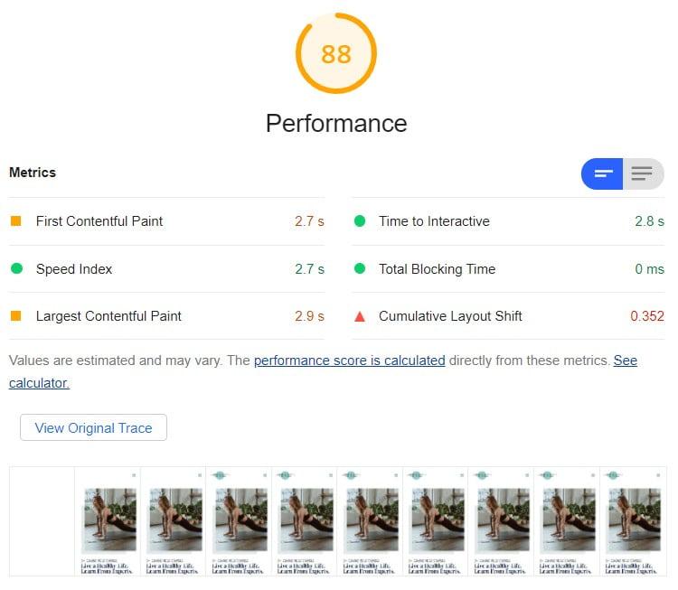 Wynik 88 w Lighthouse na mobile dla strony z edytorem blokowym