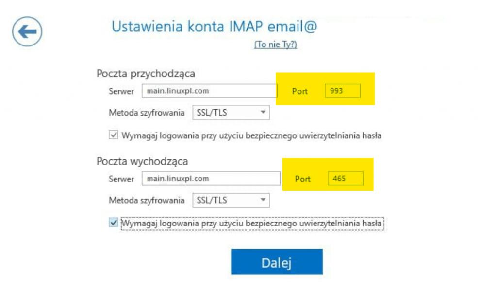 Bezpieczeństwo poczty - konfiguracja bezpiecznych portów w MS Outlook