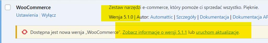 jak sprawdzić wersję WoocCommerce - screenshot z listy pluginów WordPress