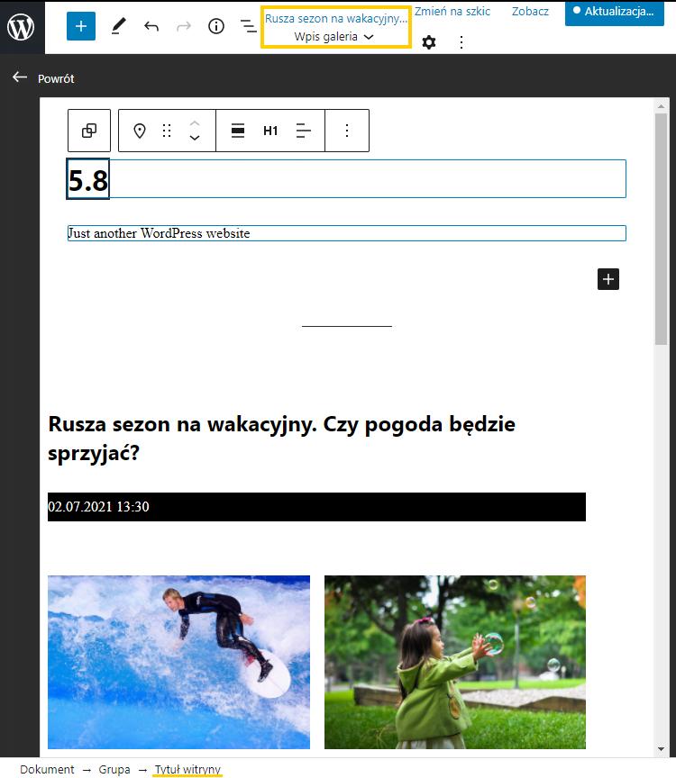 Ekran edycji szablonu strony