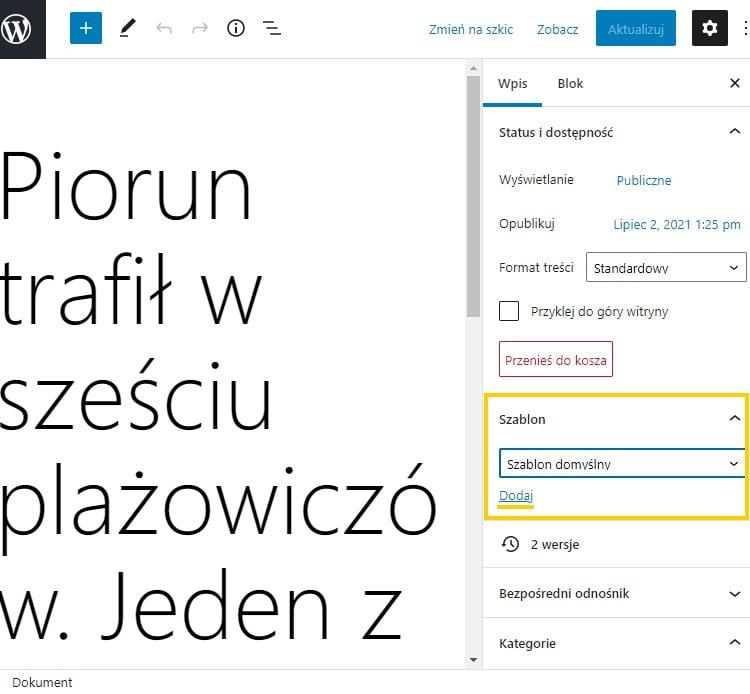 nowa zakładka szablon strony w WordPress 5.8