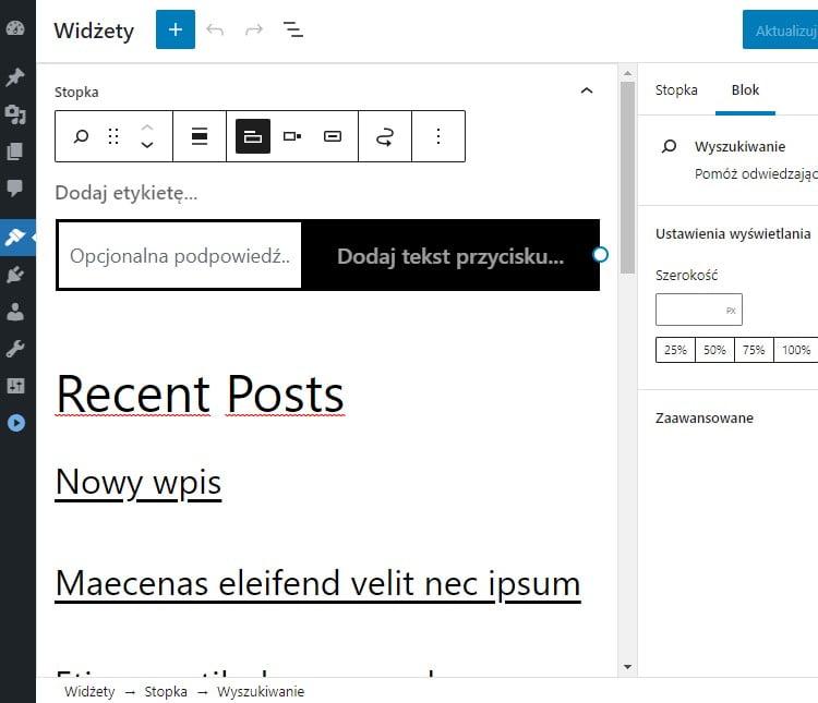 Ekran widgetów w WordPressie 5.8
