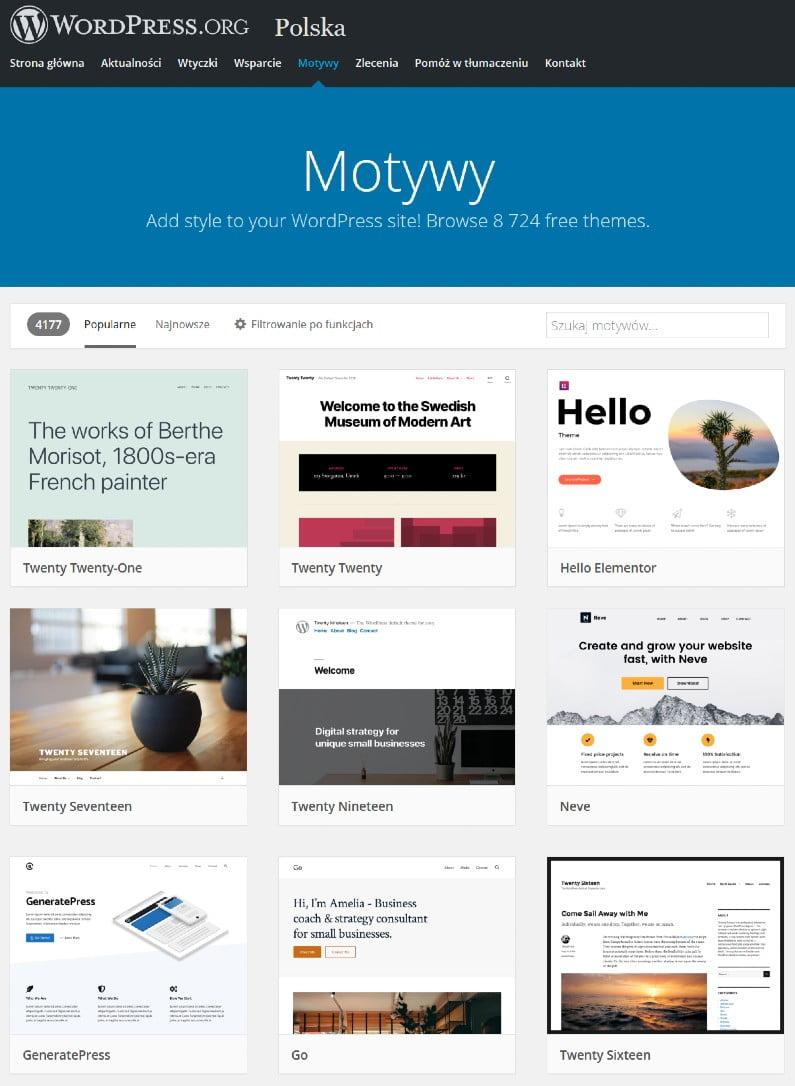 Jak wybrać motyw do WordPressa z oficjalnego repozytorium